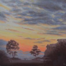 'An evening walk', Oil on canvas board, 33 X 33 cm, framed, $645