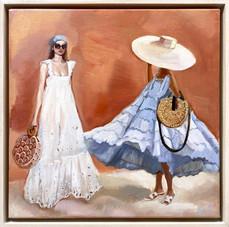 'Dress Code - Resort', Oil on linen, 38.5 x 38.5cm framed, $850