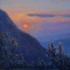 'A peach in the sky', Oil on wood panel, 21.5 x 21.5cm, $310