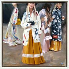 'The Fashion Set', Oil on linen, 38.5 x 38.5cm framed, $850