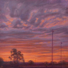 'One red morning', Oil on canvas board, 33 X 33 cm, framed, $645