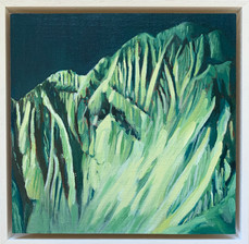 'Annapurna 4', Oil on canvas, 22X22cm, framed, $520