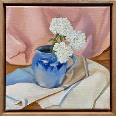 Snowballs in glazed jug, Oil on linen, 28 x 28cm framed $500