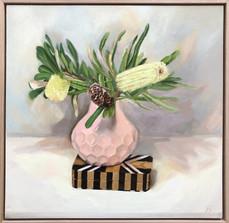 Bottlebrush on Geo Box balance, Oil on board, 63 x 63cm framed, $1250
