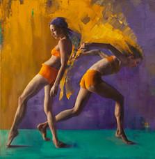 'Ochre, Purple & Teal', Oil on canvas, 76x76cm, $4150