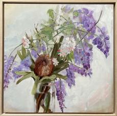 'Wild Posy', Oil on wood panel, 42.5 x42.5cm framed $550