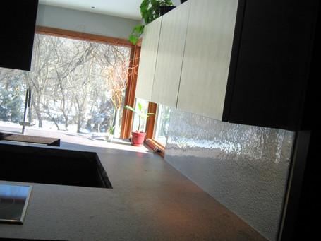 Textured Glass Backsplash