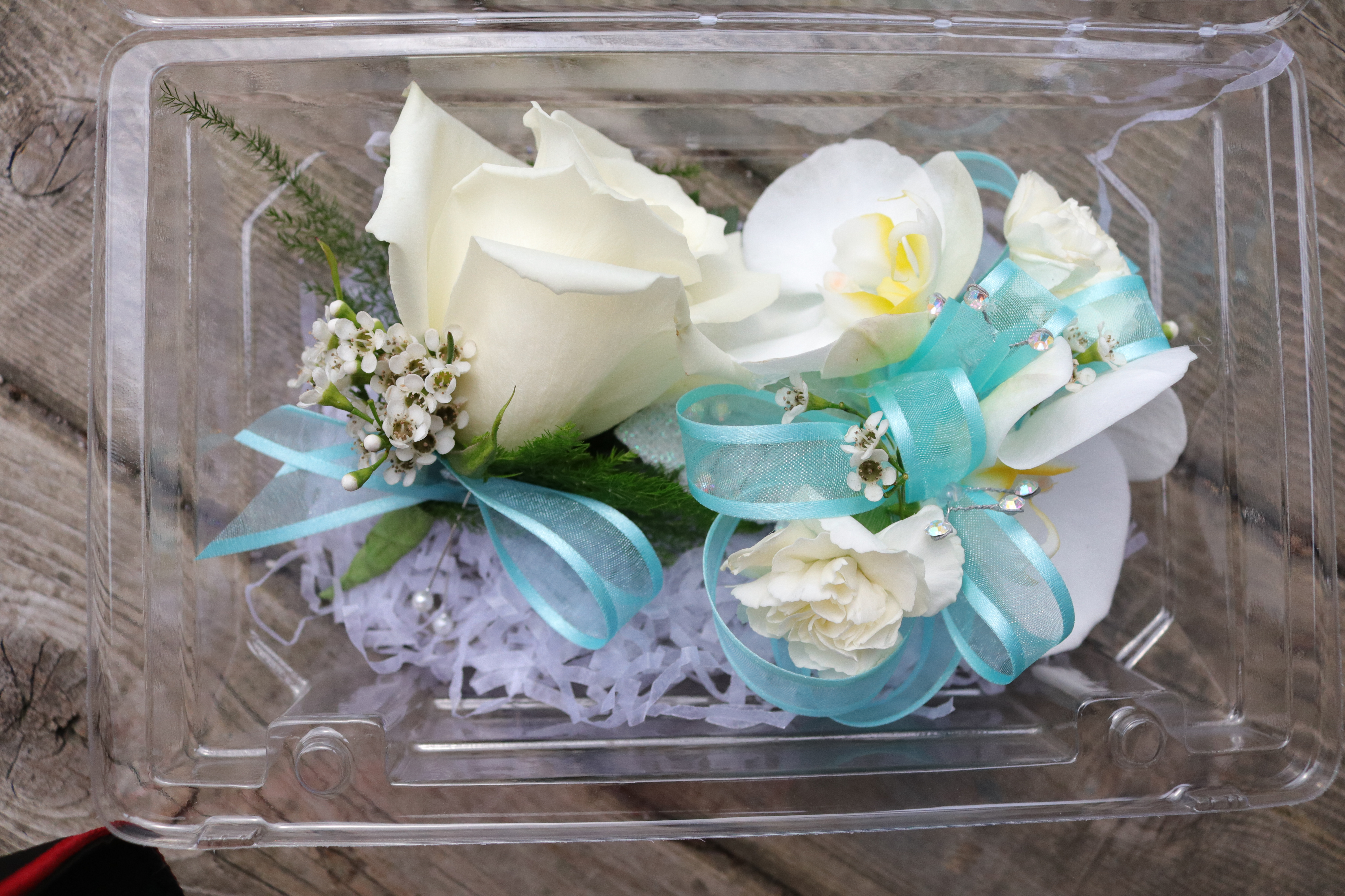 Combo with orchid corsage