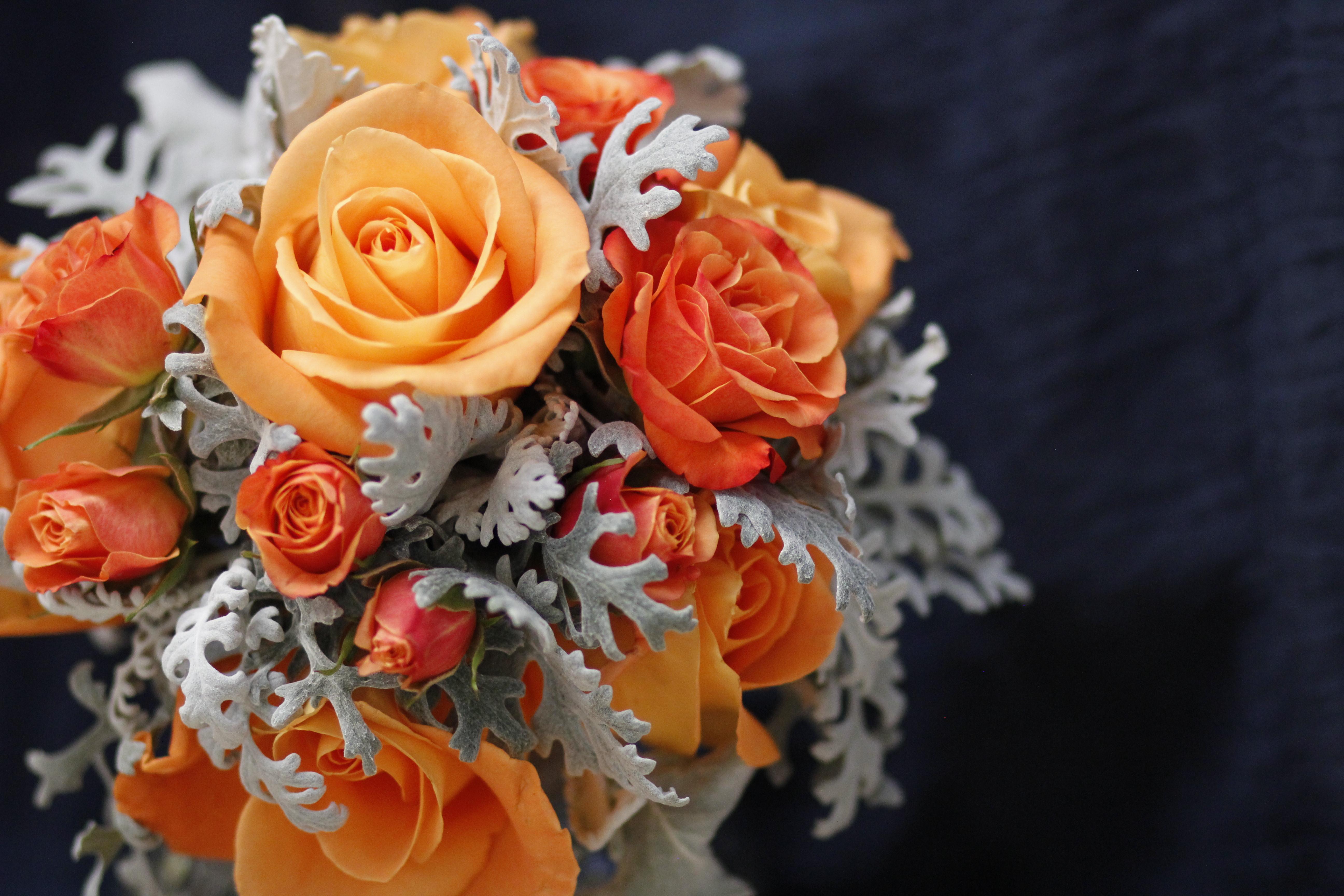 Orange blue bouquet