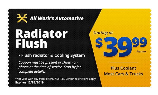 Radiator Coolant Flush Tucson - All Works Auto Repair Coupon