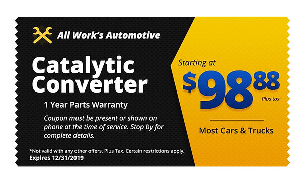 Catalytic Converter Replacement Tucson - All Works Auto Repair Coupon