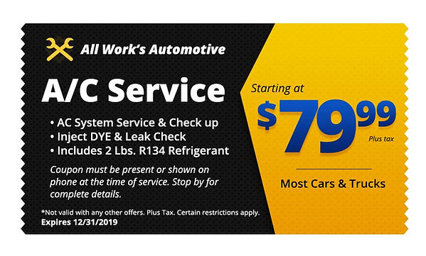 Auto AC Repairs Tucson - All Works Auto Repair Coupon