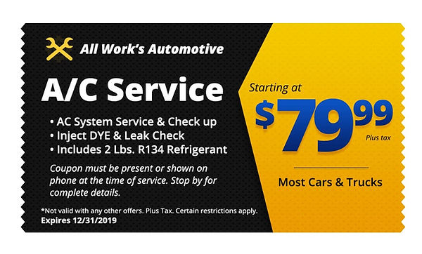 Auto AC Repair Tucson - All Works Auto Repair Coupon