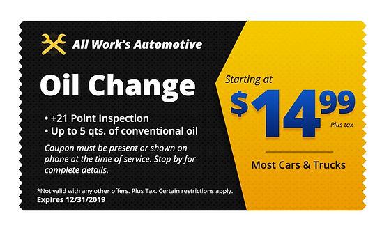 Oil Change Coupons Tucson AZ - All Works Automotive