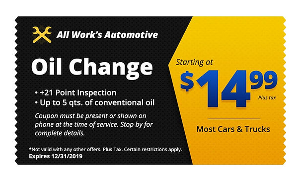 Coupon Oil Change Tucson - All Works Auto Repair Coupon