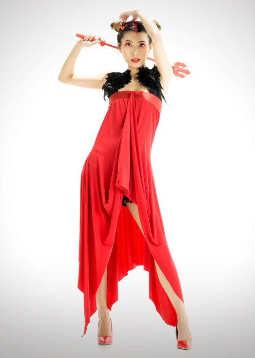 4fbff989eb6c ... Red Convertible Dress With Winged Halter Strap, Front View