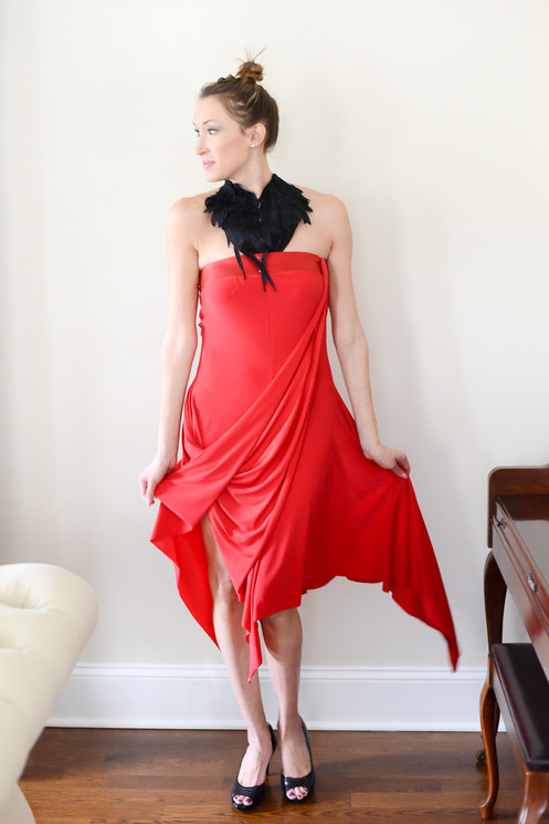 1731a6237dac Flame Fatale Red Convertible Dress With Repositionable Straps