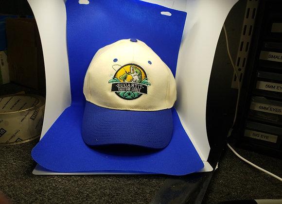 Ivory and blue baseball hat