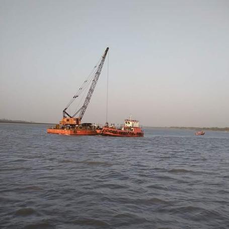 TATA TFC 280 75 MT ton crawler crane working on a barge