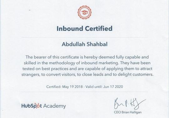 شهادة التسويق الداخلي (Inbound Marketing)