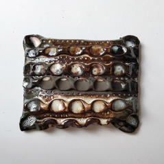 Wall Piece18 13 by 16 cm Black clay 2020 £175