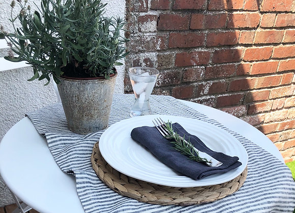 Black Stripe Washed Linen Table Runner