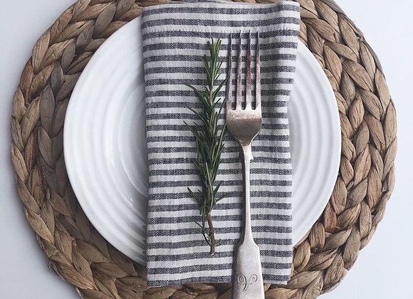 Set of 2  Black Stripe Washed Linen Napkins