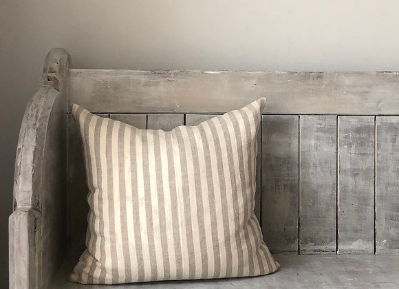 40cm x 40cm Natural and Cream Stripe Linen Cushion Cover