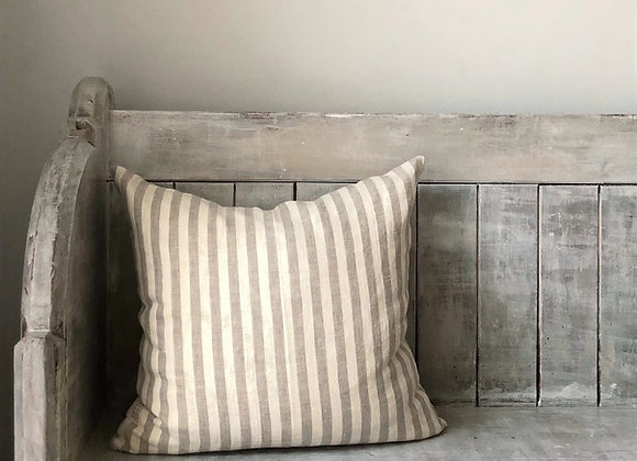 40cm x 40cm Natural and Cream Stripe Linen Cushion Cover