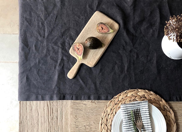 Charcoal Washed Linen Table Runner