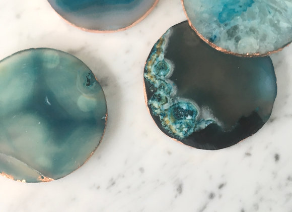 Green/Blue Agate Coaster with Copper Trim (Set of 4 )