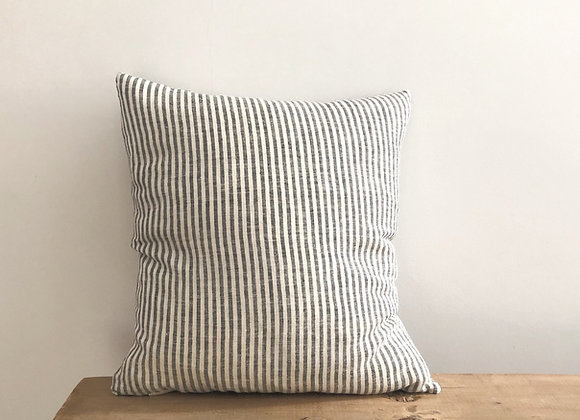 40cm x 40cm Black and Natural stripe Linen Cushion Cover