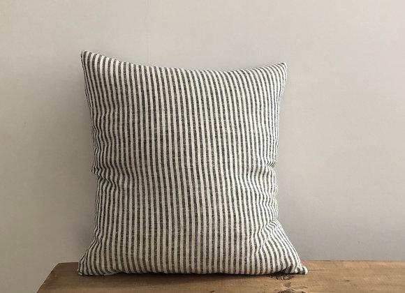 40cm x 40cm Black and Natural stripe Linen Cushion Cover