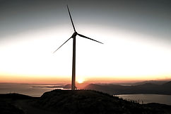 A wind generator on top of an island