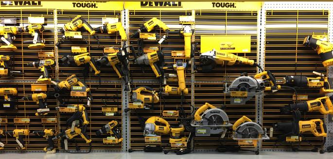 Dewalt power tools at RAKS Building Supply in New Mexico.
