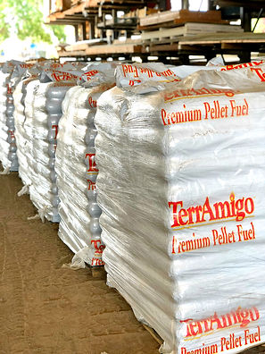 40 lb bag premium wood burning pellets from TerrAmigo for sale by the bag or by the ton are in stock at RAKS Building Supply in Los Lunas, Albuquerque, Edgewood and Socorro, New Mexico.