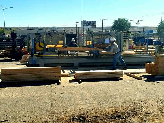 Wood truss manufacturing at RAKS Building Supply.