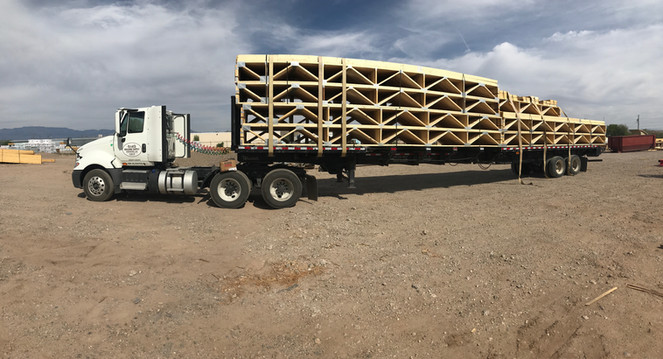 Truss delivery in Albuquerque, New Mexico.