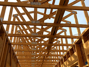 Wood floor and roof trusses at RAKS Building Supply in Albuquerque, New Mexico.