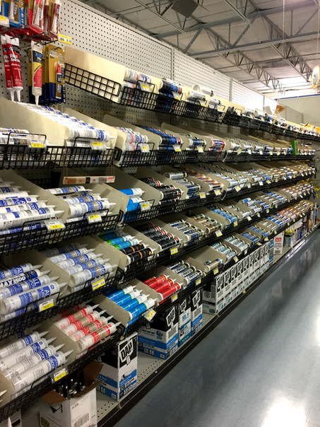 Caulk and caulk strips at RAKS Builidng Supply.