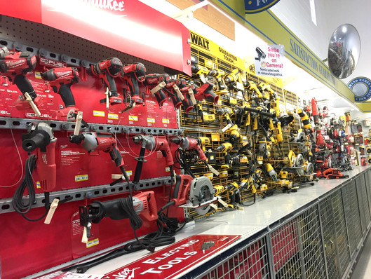 Power tools at RAKS Building Supply in New Mexico.