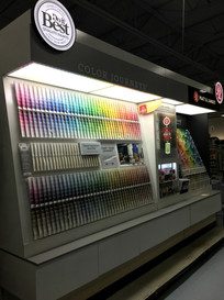 Paint color cards at RAKS Building Supply in Los Lunas, New Mexico.