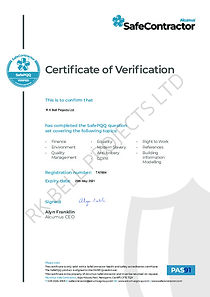 R K Bell Projects Ltd - Safe PQQ Cert 29