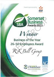 Somerset Business Awards certificatw