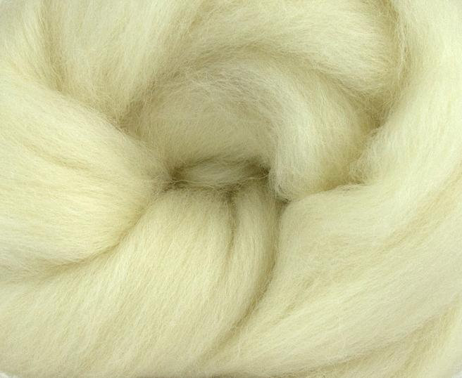 White Shetland Wool Top Roving Fibre 50g