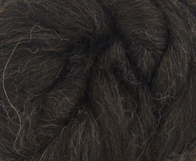 Dark Brown Shetland Wool Top Roving Fibre 50g