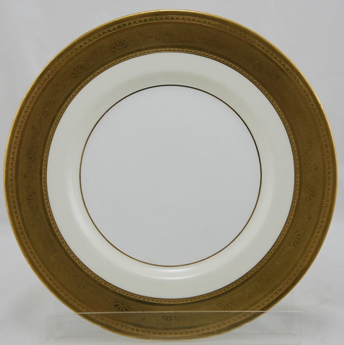"Tiffany & Co. Mintons (4) 10"" Plates H3841s Gold-Encrusted/Ivory Bone China"