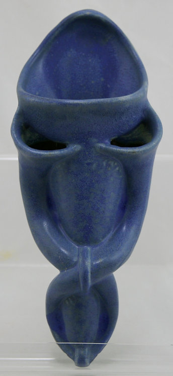 """Fulper 12"""" Tri-Pouch Wallpocket In Blue/Violet Glaze c1917-1927 Mint"""