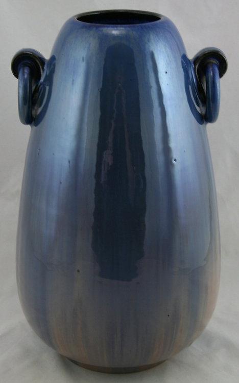 "Fulper 13"" Ring Handle Jar In Blue/Pale Rose Flambe Glaze c1917-27 F239"