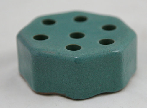 Saturday Evening Girls S.E.G. Hexagonal Flower Frog in Turquoise Glaze